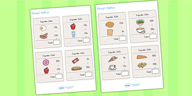 Receipt Addition Maths Activity Sheet Pack - reciept, adding, maths, worksheet