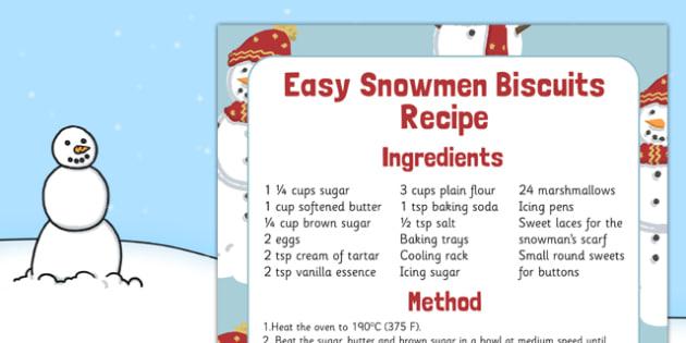 Easy Snowmen Biscuits Recipe - easy, snowmen, biscuits, recipe, easy snowmen