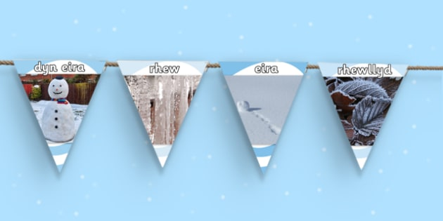 Winter Photo Display Bunting Welsh Translation - winter, bunting
