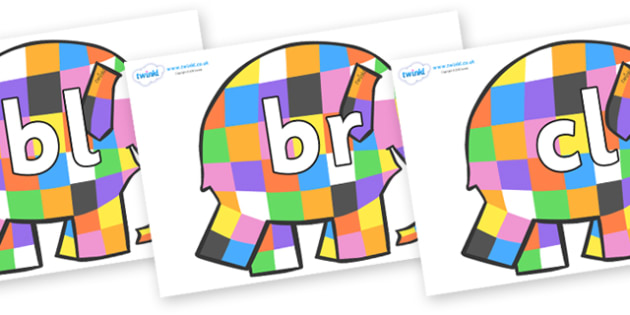 Initial Letter Blends on Patchwork Elephant to Support Teaching on Elmer - Initial Letters, initial letter, letter blend, letter blends, consonant, consonants, digraph, trigraph, literacy, alphabet, letters, foundation stage literacy
