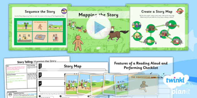 PlanIt Y2 The Gingerbread Man Lesson Pack Storytelling (2) - traditional stories, traditional tales, pie corbett, oral