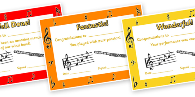 Wind Band Certificates - wind band, certificates, reward, award, reward certificates, certificate template, behaviour management, class management