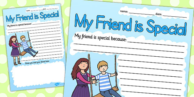 My Friend Is Special Because Writing Frame - writing frame, friendship, special friend, my friend is special, writing, writing template, friend, special