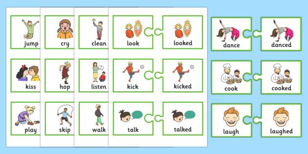 Regular Past Tense Verb Jigsaws - SLI, grammar, ASD,EAL, language disorder, Language delay, Word Order