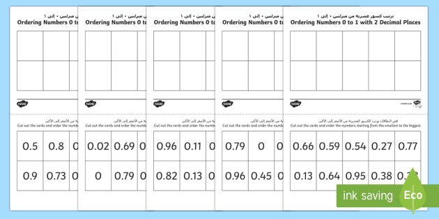 Ordering Decimal Numbers 0 to 1 with 2 Decimal Places Activity Arabic/English - Ordering Sheets, decimal fractions, decimals, order, 2 decimal places,Arabic-translation