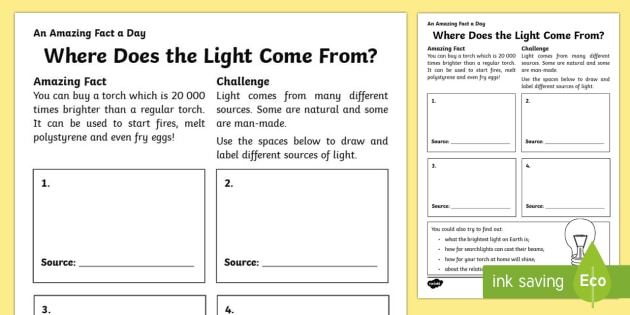 Where Does the Light Come From? Activity Sheet