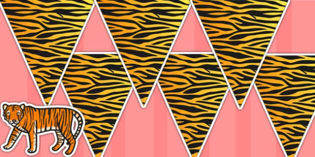 Tiger Pattern Bunting - tiger, animals, jungle, bunting, display
