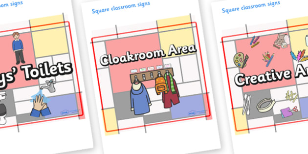 Mondrian Themed Editable Square Classroom Area Signs (Plain) - Themed Classroom Area Signs, KS1, Banner, Foundation Stage Area Signs, Classroom labels, Area labels, Area Signs, Classroom Areas, Poster, Display, Areas
