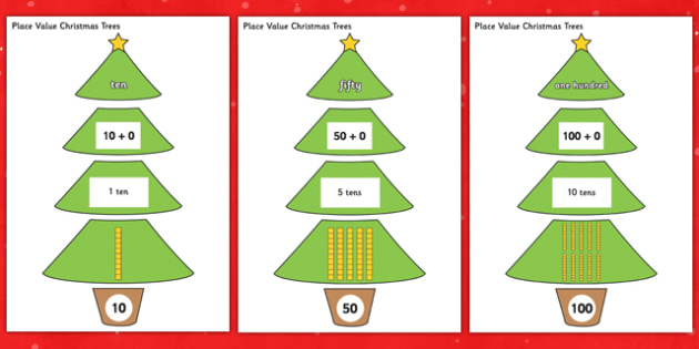 Multiples of 10 Christmas Trees - multiples of 10, christmas tree, christmas, tree, multiples, 10