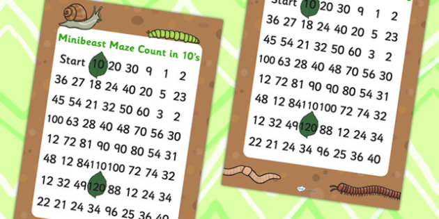 Minibeast Counting in 10s Maze - minibeasts, counting games, maze