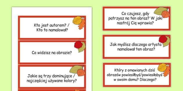 Karty z pytaniami Patrzenie na obraz po polsku - sztuka - Polish, Poland, EAL, art, art and design, paint, painting, appreciation, evaluate, share