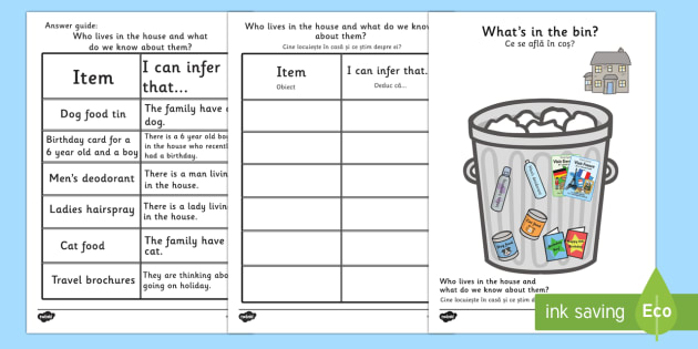 What's In The Rubbish? Making Inferences Activity Romanian