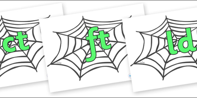 Final Letter Blends on Spiders Web - Final Letters, final letter, letter blend, letter blends, consonant, consonants, digraph, trigraph, literacy, alphabet, letters, foundation stage literacy