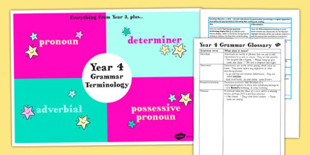 Use Understand Grammatical Terminology Appendix KS2 Y4 Ideas Pack