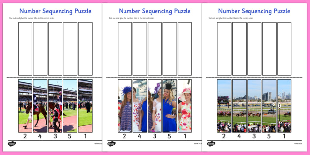 The Melbourne Cup Photo Number Sequencing Puzzles - australia, melbourne cup, photo, number, sequencing