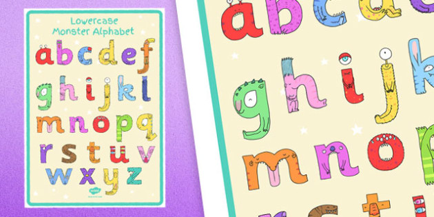 Lower-Case Monster Alphabet Large Display Poster - topic, fun, entertaining, letters, formation, working, wall,