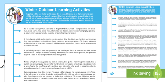 Winter Outdoor Learning Activities Parent and Carer Information Sheet - Early Years, outdoor learning, winter activities, activities, craft, weather, seasons, cold, ice, sn