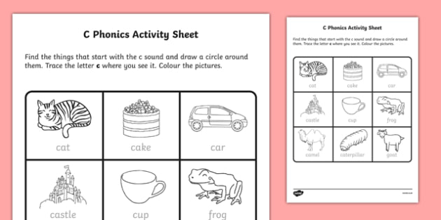 c Phonics Activity Sheet-Irish, worksheet