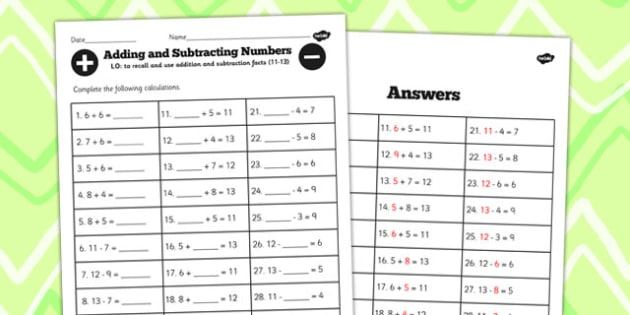 Number Facts Worksheet 11-13 One Digit - number, facts, 11, 13