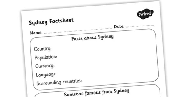 Sydney Factsheet Writing Template - sydney, sydney fact sheet, sydney fact file, sydney worksheet, facts about sydney, austalia, ks2 geography, ks2 places
