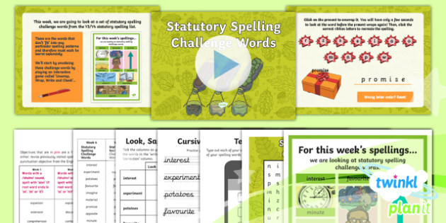 PlanIt Y4 Term 1B W6: Statutory Spelling Challenge Words Spelling Pack - Spelling Packs Y4, spelling, packs, weekly, lists, PlanIt, SPaG, GPS, Y4, Year 4, statutory, common