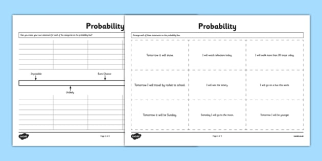 Probability Activity Sheet - Second Level, probability, chance, worksheet