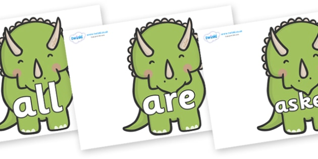 Tricky Words on Triceratops Dinosaurs - Tricky words, DfES Letters and Sounds, Letters and sounds, display, words