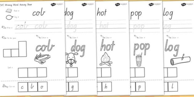 CVC Writing Word Activity Sheets O - cvc words, cvc activities, worksheet