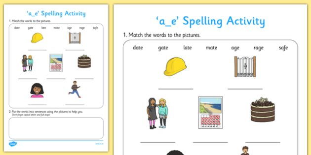 a-e Spelling Activity - a-e, spelling activity, spell, spelling