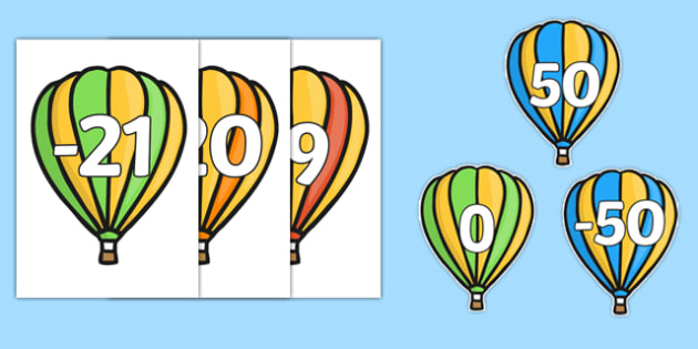 Numbers -50 to 50 on Hot Air Balloons - Hot Air Balloon, Foundation Numeracy, Number recognition, Number flashcards, 0-100, A4, display numbers