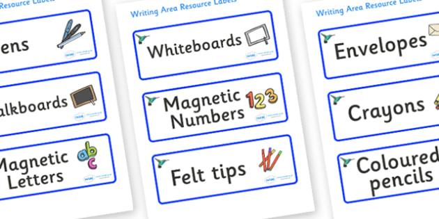 Hummingbird Themed Editable Writing Area Resource Labels - Themed writing resource labels, literacy area labels, writing area resources, Label template, Resource Label, Name Labels, Editable Labels, Drawer Labels, KS1 Labels, Foundation Labels, Found