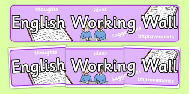 English Working Wall Display Banner Sassoon - displays, work