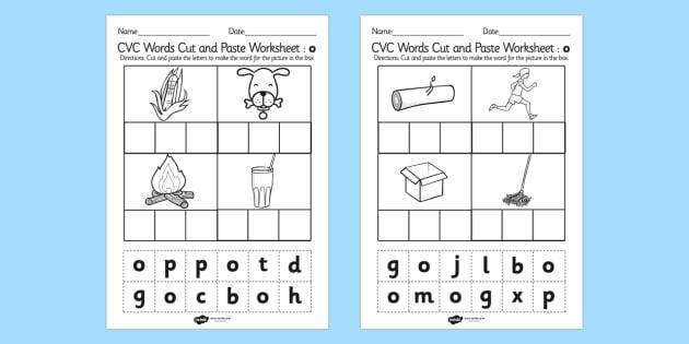 T L 2220 Cvc Words Cut And Paste Worksheets O on Kindergarten Halloween Reading Comprehension Worksheets