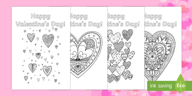 Valentine's Day Mindfulness Heart Cards - Valentine's Day, Feb 14th, love, cupid, hearts, valentine, card, valentine's card, colouring, mind