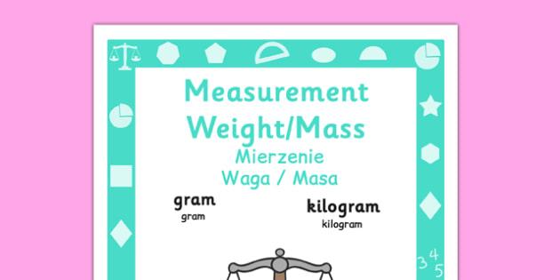 Year 1 Measurement, Weight and Mass Poster Polish Translation - year 1, yr1, ks1, measure, ssm, weight, mass, weigh, measurement, display, maths, visual aid, polish, poland, eal