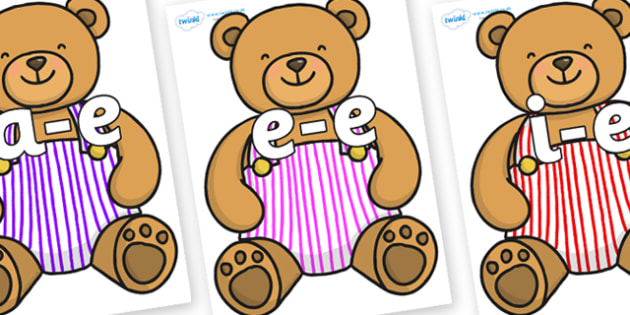 Modifying E Letters on Dungaree Teddy - Modifying E, letters, modify, Phase 5, Phase five, alternative spellings for phonemes, DfES letters and Sounds