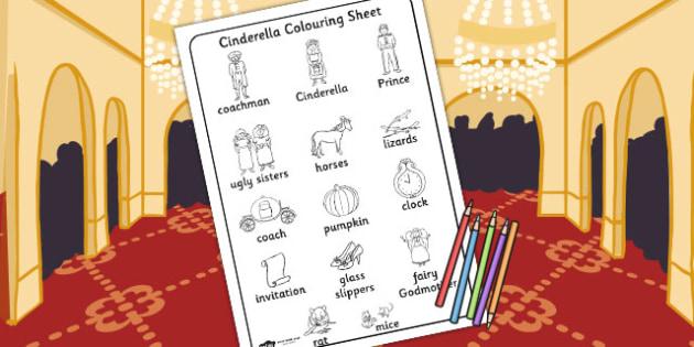 Cinderella Words Colouring Sheet - cinderella, words, colouring