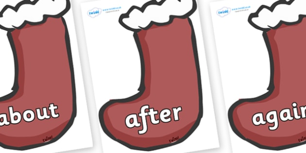 KS1 Keywords on Stockings (Plain) - KS1, CLL, Communication language and literacy, Display, Key words, high frequency words, foundation stage literacy, DfES Letters and Sounds, Letters and Sounds, spelling