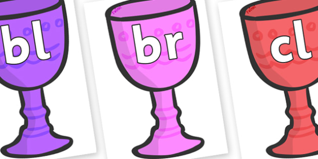 Initial Letter Blends on Goblets - Initial Letters, initial letter, letter blend, letter blends, consonant, consonants, digraph, trigraph, literacy, alphabet, letters, foundation stage literacy