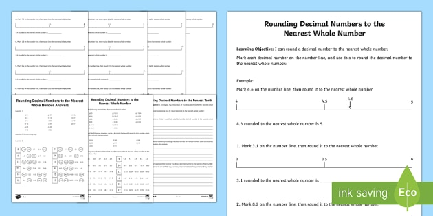 Rounding Decimals Activity Sheet - rounding, decimals, worksheet, round, maths, numeracy
