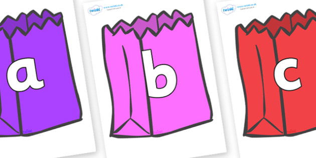 Phoneme Set on Bags - Phoneme set, phonemes, phoneme, Letters and Sounds, DfES, display, Phase 1, Phase 2, Phase 3, Phase 5, Foundation, Literacy