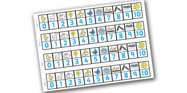 Spring Number Track (1-10) - Maths, Math, number track, toys, numbertrack, Counting, Numberline, Number line, Counting on, Counting back, lambs, daffodils, new life, flowers, buds, plants, growth