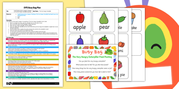 Food Posting Activity to Support Teaching on The Very Hungry Caterpillar EYFS Busy Bag Plan and Resource Pack - Busy bag, Eric Carle, Food sort
