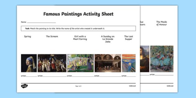 Famous Paintings Matching Activity Sheet - art, appreciation, famous paintings, artists, matching, activity sheet, worksheet