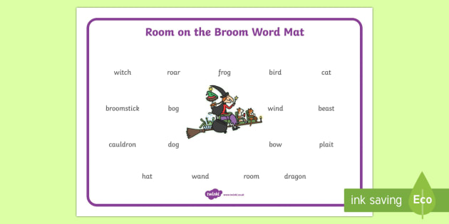 Word Mat to Support Teaching on Room on the Broom - room on the broom, word mat, topic words, key words, important words, mat of words, relevent words, story mat, themed word mat