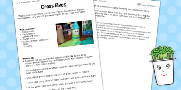 Cress Elves Worksheet - cress elves, worksheet, cress, elves