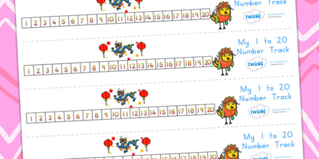 Chinese New Year Number Track 1-20 - chinese new year, numeracy