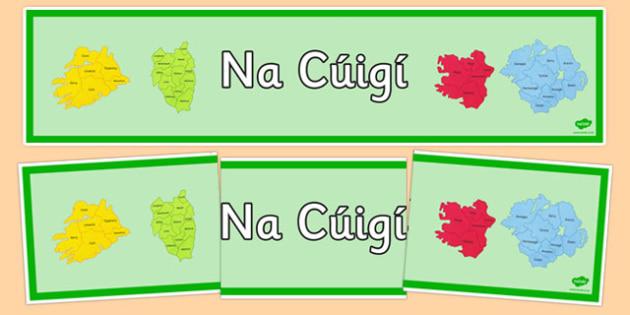 Irish Provinces of Ireland Banner Gaeilge -  EAL, translated, Ireland, geography