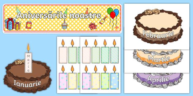 Editable Birthday Display Set (Cakes) Pachet cu activități-Romanian