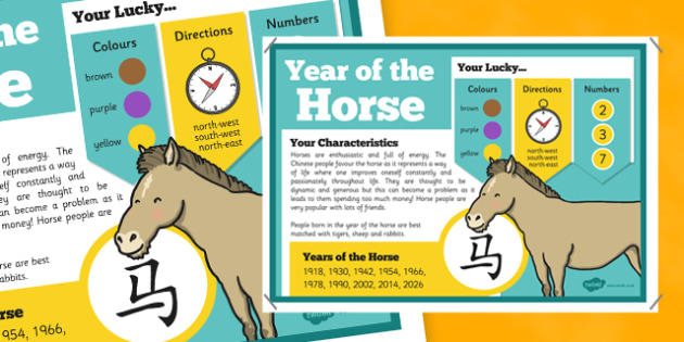 Chinese New Year of the Horse Display Poster - chinese new year, display poster, information, year of the horse